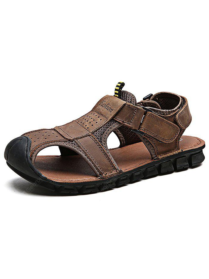 Outdoor Comfortable Hand-sewn Cowhide Men Casual Sandals