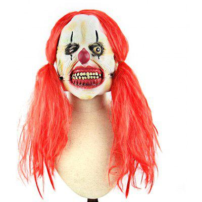 Red Pigtail Zombie Latex Mask