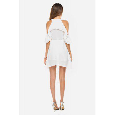 Elegant Falbala Cold Shoulder White DressMini Dresses<br>Elegant Falbala Cold Shoulder White Dress<br><br>Dresses Length: Mini<br>Material: Cotton, Polyester<br>Package Contents: 1 x Dress<br>Package size: 36.00 x 29.00 x 3.00 cm / 14.17 x 11.42 x 1.18 inches<br>Package weight: 0.1700 kg<br>Pattern Type: Solid Color<br>Product weight: 0.1400 kg<br>Season: Summer<br>Silhouette: Pleated<br>Style: Elegant<br>With Belt: No