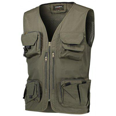 Jeep Rich Mesh Spliced Outdoor Casual Waistcoat for Men