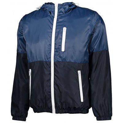 Men Ultralight Contrasting Color Windproof Hooded Jacket