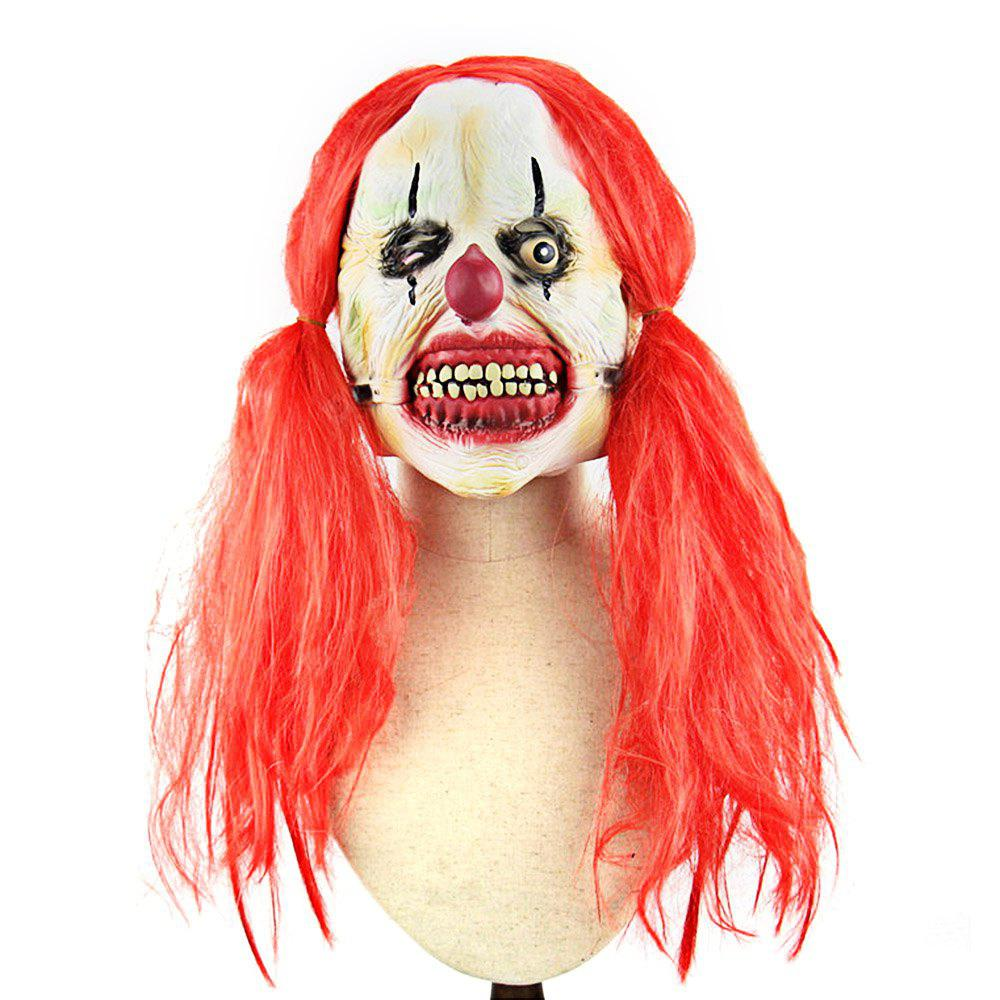 Red Pigtail Zombie Latex Maske