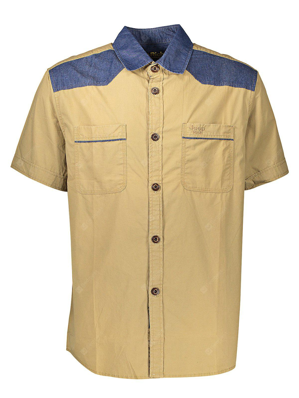 Jeep Rich Contrasting Color Men Short Sleeve Shirts