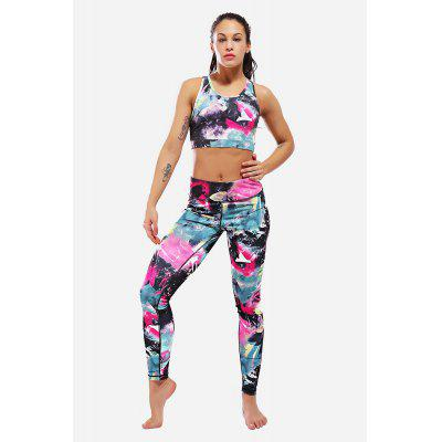 Stampa Yoga Stretch Women Gilet Leggings