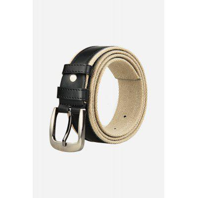 Men Canvas Casual Leather Belt with Pin Buckle