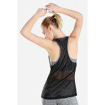 Two-in-one Breathable Mesh Yoga Bra Vest Fitness Clothing - BLACK AND GREY