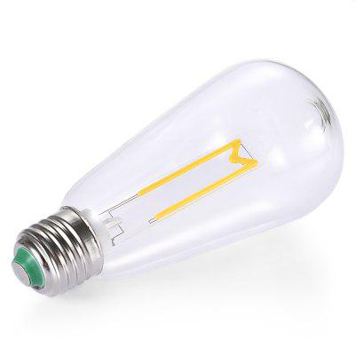 E27 4W Retro LED Filament LampGlobe bulbs<br>E27 4W Retro LED Filament Lamp<br><br>Angle: 360 degree<br>Available Light Color: Warm White<br>Certifications: CE,FCC,RoHs<br>Features: Long Life Expectancy, Retro Edison Style<br>Function: public places, Studio and Exhibition Lighting,  playing fields, Outdoor lighting, Home Lighting, Commercial Lighting,  including building and landscape beautification,  stage lighting<br>Holder: E27<br>Lifespan: 25000h<br>Output Power: 4W<br>Package Contents: 1 x Bulb, 1 x Bulb<br>Package size (L x W x H): 7.40 x 7.40 x 15.50 cm / 2.91 x 2.91 x 6.1 inches<br>Package weight: 0.0930 kg<br>Product size (L x W x H): 6.40 x 6.40 x 14.50 cm / 2.52 x 2.52 x 5.71 inches<br>Product weight: 0.0700 kg<br>Sheathing Material: Glass<br>Type: Edison Bulb<br>Voltage (V): AC 180-265V