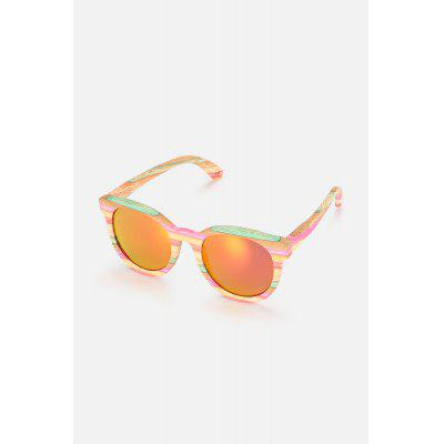 Colored Lens Colorful Bamboo Frame Round Sunglasses