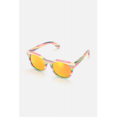 Colored Lens Colorful Bamboo Frame Polarized Sunglasses
