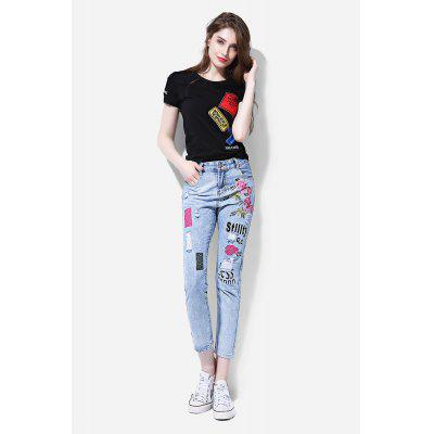 Floral Embroidery Slim-leg Jeans with Ripped Detail