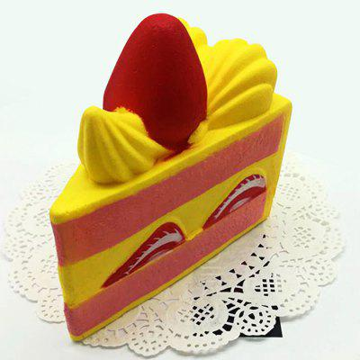 Realistic Triangle Strawberry Cake PU Foam Squishy Toy