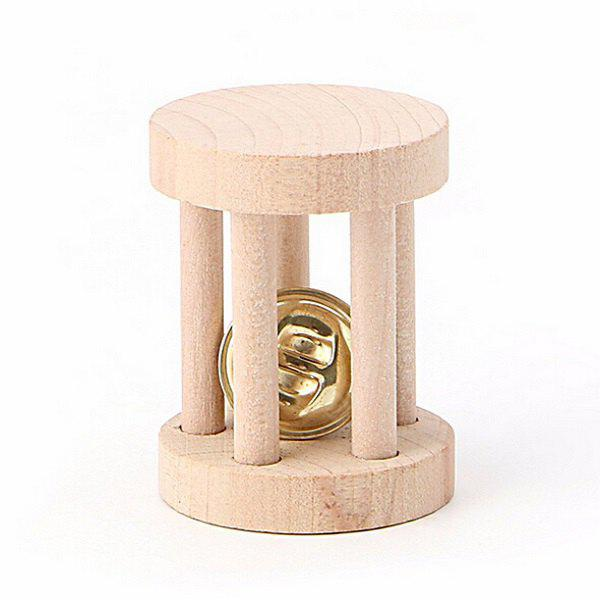 Natural Wood Chew Toys Bell Roller for Pet Hamsters
