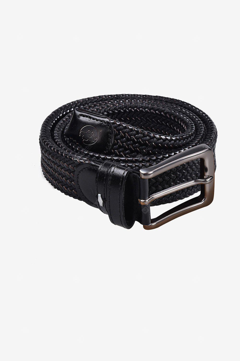 Men PU Braided Belt with Pin Buckle