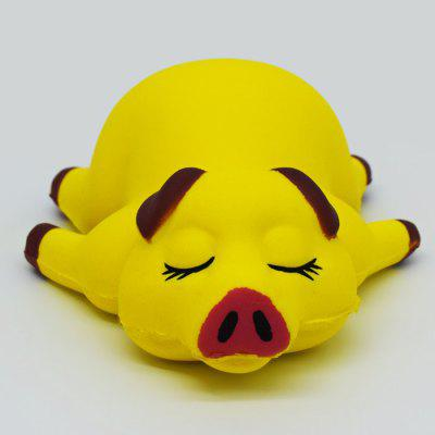 Buy YELLOW Cartoon Sleeping Pig Soft PU Foam Squishy Toy for $4.62 in GearBest store