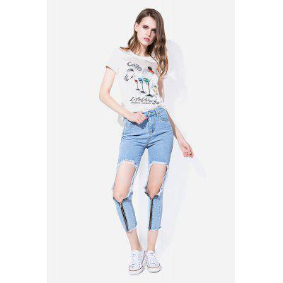 Zipper-up Slim Cropped Jeans com detalhe rasgado
