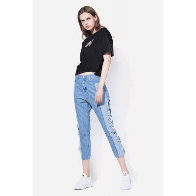 Lace-up Lados Cropped Jeans com Slim Leg