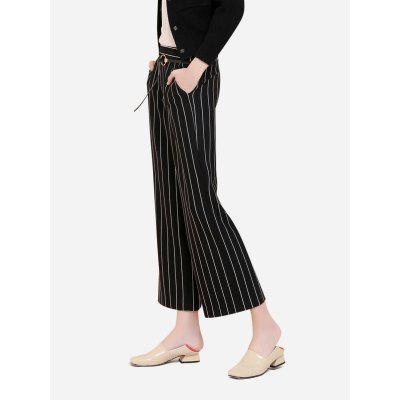 Buy BLACK WHITE STRIPED M Wide Leg Stripe Palazzo Pants for $33.38 in GearBest store