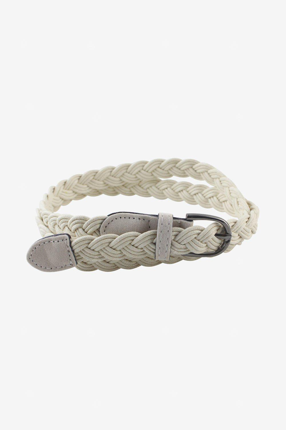 Fashion Thin Braided Leather Belt with Buckle for Women