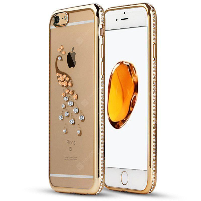 Diamond Electroplating Edge Peacock Pattern Silicone Phone Case for iPhone 6 Plus / 6S Plus