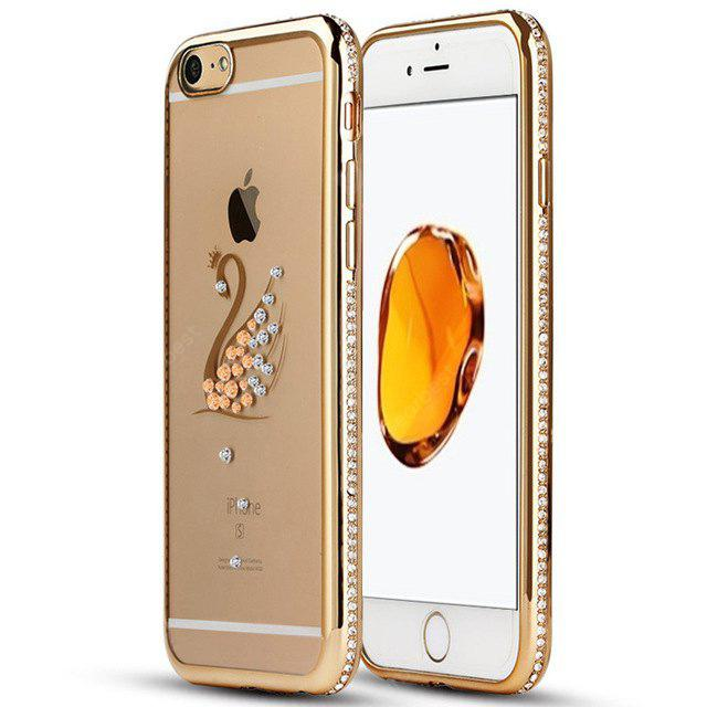 Diamond Electroplating Edge Swan Pattern Silicone Phone Case for iPhone 6 Plus / 6S Plus