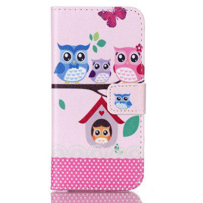Owl Family Printing Stand Cover PU Leather Full Body Case for iPhone 7 Plus Credit Card Holder