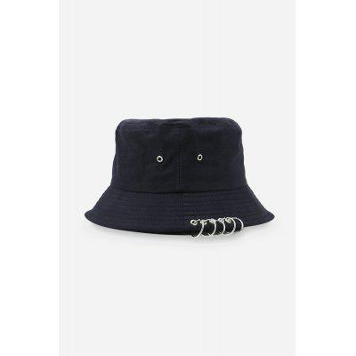 Buy BLACK Metal Decoration Sun Protection Cotton Bucket Hat for $9.02 in GearBest store