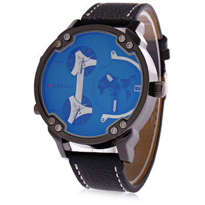 Buy LIGHT BLUE JUBAOLI A638 3-movt Male Leather Band Watch for $15.66 in GearBest store