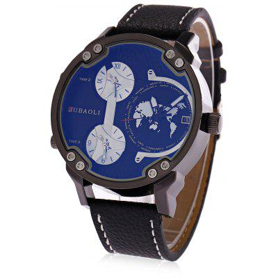 Buy BLUE JUBAOLI A638 3-movt Male Leather Band Watch for $15.66 in GearBest store