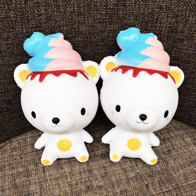 Cute Ice Cream Bear Soft PU Foam Squishy Toy 1pc