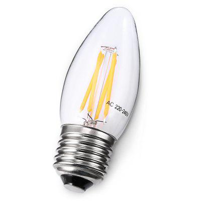 E14 4W Retro LED Filament LampCandle Bulbs<br>E14 4W Retro LED Filament Lamp<br><br>Angle: 360 degree<br>Available Light Color: White<br>Certifications: CE,FCC,RoHs<br>Features: Long Life Expectancy<br>Function: Studio and Exhibition Lighting, Home Lighting<br>Holder: E14<br>Lifespan: 20000h<br>Luminous Flux: 360lm<br>Package Contents: 1 x Bulb<br>Package size (L x W x H): 3.80 x 3.80 x 10.00 cm / 1.5 x 1.5 x 3.94 inches<br>Package weight: 0.0520 kg<br>Product size (L x W x H): 2.80 x 2.80 x 9.00 cm / 1.1 x 1.1 x 3.54 inches<br>Product weight: 0.0150 kg<br>Sheathing Material: Glass<br>Type: Candle Bulbs<br>Voltage (V): AC 220-240