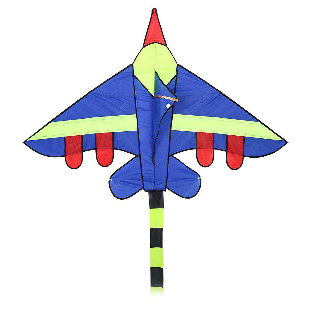 BLUE Creative Fighter Craft Shape Flying Kite with 100m Line Reel