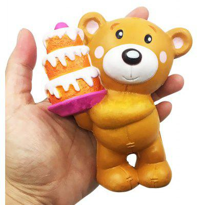 Buy BROWN Cartoon Cake-holding Bear PU Foam Squishy Toy for $5.73 in GearBest store