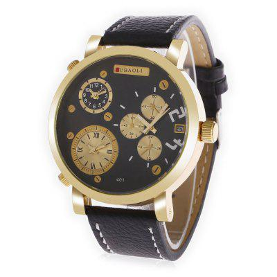 Buy BLACK JUBAOLI 401 Male 3-movt Leather Band Quartz Watch for $13.81 in GearBest store