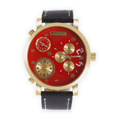 JUBAOLI 401 Male 3-movt Leather Band Quartz WatchMens Watches<br>JUBAOLI 401 Male 3-movt Leather Band Quartz Watch<br><br>Band material: Leather<br>Band size: 26 x 2cm<br>Brand: Jubaoli<br>Case material: Stainless Steel<br>Clasp type: Pin buckle<br>Dial size: 5 x 5 x 1cm<br>Display type: Analog<br>Movement type: Quartz watch<br>Package Contents: 1 xJUBAOLI Watch, 1 x Box<br>Package size (L x W x H): 15.00 x 9.00 x 3.00 cm / 5.91 x 3.54 x 1.18 inches<br>Package weight: 0.1320 kg<br>Product size (L x W x H): 26.00 x 5.00 x 1.00 cm / 10.24 x 1.97 x 0.39 inches<br>Product weight: 0.0700 kg<br>Shape of the dial: Round<br>Special features: Multi Time Zones<br>Watch style: Fashion<br>Watches categories: Men<br>Water resistance: Life water resistant<br>Wearable length: 20 - 24cm