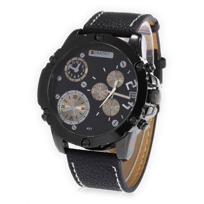 JUBAOLI A401 Male Leather Band Date Display Quartz Watch