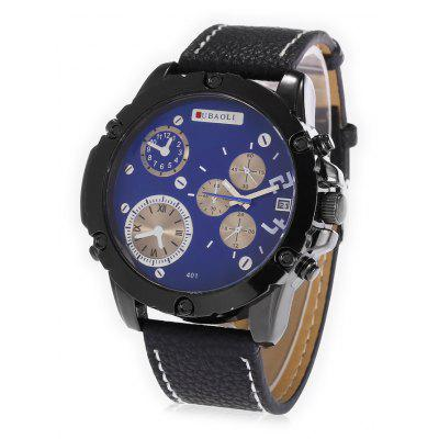 Buy BLUE JUBAOLI A401 Male Leather Band Date DisplayQuartz Watch for $10.78 in GearBest store
