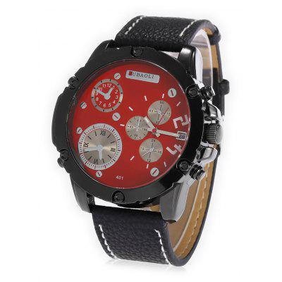 Buy RED JUBAOLI A401 Male Leather Band Date DisplayQuartz Watch for $10.78 in GearBest store