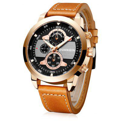 Buy BROWN GUANQIN GS19078 Men Fashion Quartz Watch for $29.99 in GearBest store