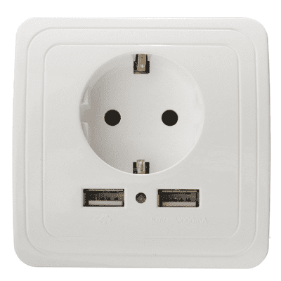 Dual USB EU Plug 16A Charging Charger Wall Socket