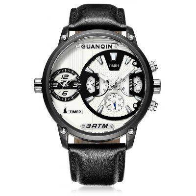 GUANQIN GS19076 Men Quartz Watch with Dual Time Zone
