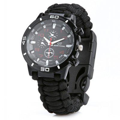 Compass Whistle Flintstone Scraper Survival Parachute Watch