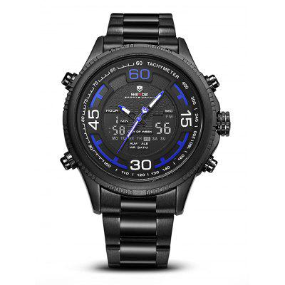 WEIDE WH6306 2-movt Men Fashion WatchMens Watches<br>WEIDE WH6306 2-movt Men Fashion Watch<br><br>Band material: Stainless Steel<br>Band size: 21 x 2.4cm<br>Brand: Weide<br>Case material: Zinc Alloy<br>Clasp type: Folding clasp with safety<br>Dial size: 4.9 x 4.9 x 1.7cm<br>Display type: Analog-Digital<br>Movement type: Quartz + digital watch<br>Package Contents: 1 x Watch<br>Package size (L x W x H): 22.00 x 5.00 x 2.00 cm / 8.66 x 1.97 x 0.79 inches<br>Package weight: 0.1800 kg<br>Product size (L x W x H): 21.00 x 4.90 x 1.70 cm / 8.27 x 1.93 x 0.67 inches<br>Product weight: 0.1500 kg<br>Shape of the dial: Round<br>Watch mirror: Mineral glass<br>Watch style: Fashion<br>Watches categories: Men<br>Water resistance: 30 meters
