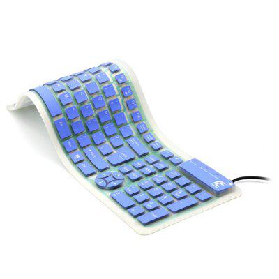 Portable Wired Silent Waterproof USB Silicone Roll-up Keyboard