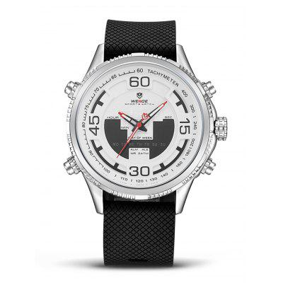 WEIDE WH6306 2-movt LCD Men Fashion WatchMens Watches<br>WEIDE WH6306 2-movt LCD Men Fashion Watch<br><br>Band material: PU<br>Band size: 21 x 2.4cm<br>Brand: Weide<br>Case material: Zinc Alloy<br>Clasp type: Pin buckle<br>Dial size: 4.9 x 4.9 x 1.7cm<br>Display type: Analog-Digital<br>Movement type: Quartz + digital watch<br>Package Contents: 1 x Watch<br>Package size (L x W x H): 22.00 x 5.00 x 2.00 cm / 8.66 x 1.97 x 0.79 inches<br>Package weight: 0.1800 kg<br>Product size (L x W x H): 21.00 x 4.90 x 1.70 cm / 8.27 x 1.93 x 0.67 inches<br>Product weight: 0.1500 kg<br>Shape of the dial: Round<br>Watch style: Fashion<br>Watches categories: Men<br>Water resistance: 30 meters<br>Wearable length: 16 - 19.5cm