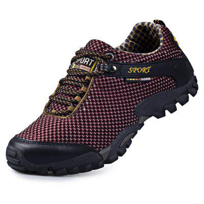 Buy WINE RED Hollow Comfortable Men Hiking Shoes for $35.73 in GearBest store