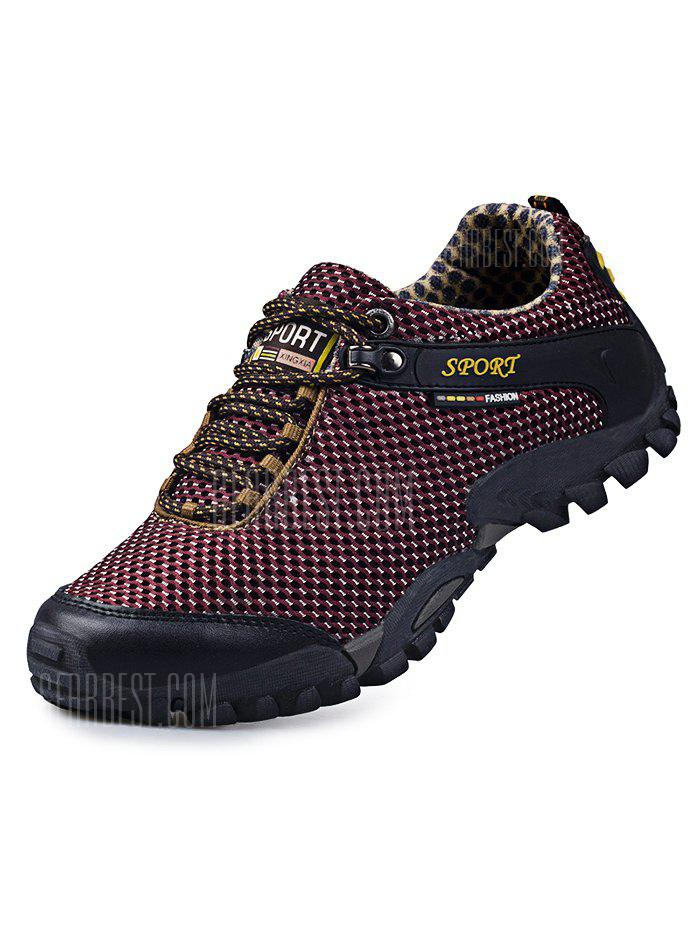 WINE RED Hollow Comfortable Men Hiking Shoes