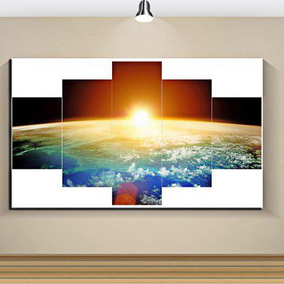 5PCS Earth World Map Printed  Canvas Print Unframed Wall Art