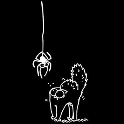 Buy WHITE Scared Spider Simons Cat Cartoon Car Sticker for $1.00 in GearBest store