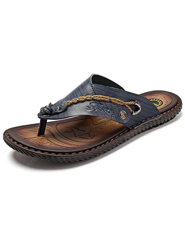 Men Microfiber Leather Handcraft Casual Flip-flops