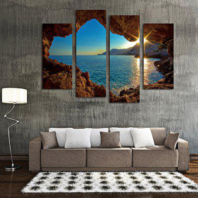4PCS Sunset Printing Canvas Wall Sticker Wallpaper